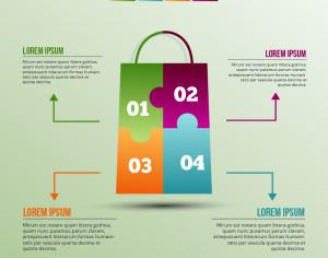 Infographic template with puzzle style shopping bag Photoshop brush