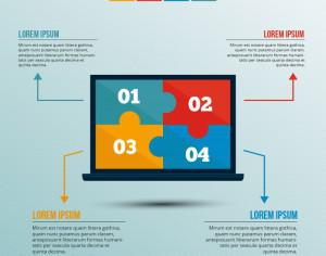 Infographic template with puzzle style laptop Photoshop brush
