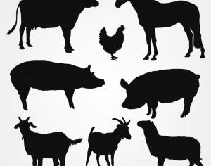 Vector Farm Animals Silhouettes Photoshop brush