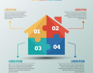 Infographic template with puzzle style house Photoshop brush