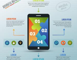 Infographic template with puzzle style phone Photoshop brush