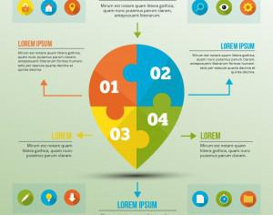 Infographic template with puzzle location sign Photoshop brush