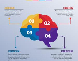 Infographic template with puzzle style brain Photoshop brush