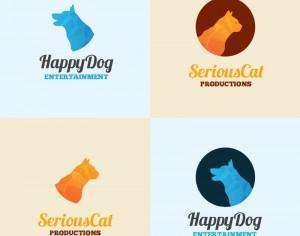 Dog and cat logo template Photoshop brush