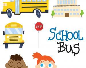 Cute school bus and school vectors Photoshop brush