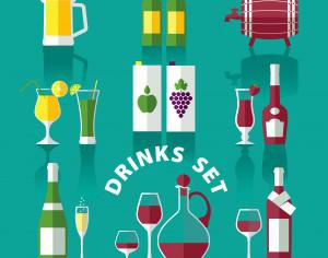 Drink icons of flat style Photoshop brush