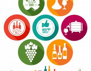 Drink illustration of wine. Color flat icons. Photoshop brush