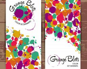 Banners of color blots Photoshop brush