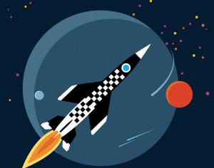 rocket in space Photoshop brush