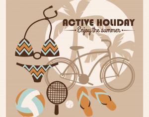 Summer illustration. Active lifestyle Photoshop brush
