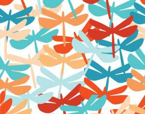 Summer seamless background with dragonfly. Photoshop brush