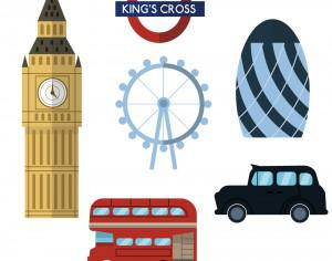 London icons and elements Photoshop brush