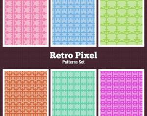 Retro Pixel Patterns Set Photoshop brush