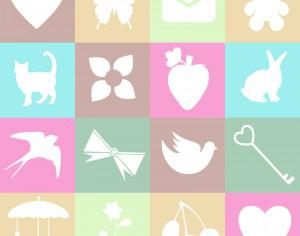 Cute spring and love elements on metro background Photoshop brush