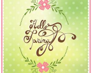 Spring illustration with floral frame Photoshop brush