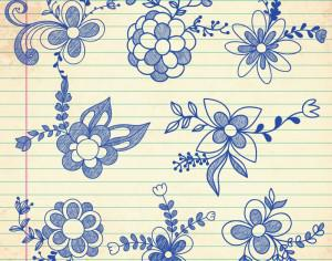 Set of doodle flowers Photoshop brush
