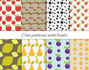 Set of cute patterns with fruits Photoshop brush