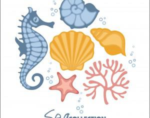 Vector set of sea fauna.  Photoshop brush