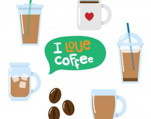 Various coffee vectors Photoshop brush