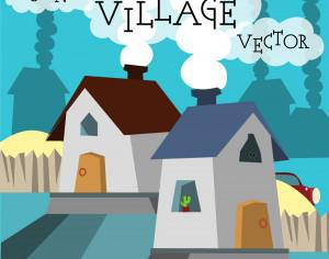 Funny vector night village illustration. Free for vector design Photoshop brush