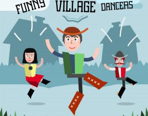 Some village people dancing. Three different characters in similar pose. Free for vector design Photoshop brush