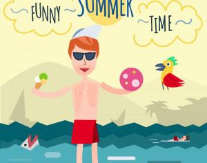 Funny young man in sea. It's holiday time. Some object is ice-cream and ball. Free for vector design Photoshop brush