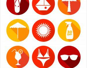 Summer abstract icons set Photoshop brush