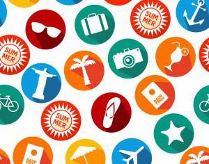 Summer icons background of bright icons Photoshop brush