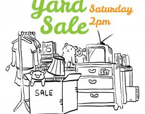 Yard sale black and white flyer illustration Photoshop brush