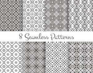Black and white geometrical patterns set Photoshop brush