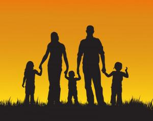 Family with children silhouette illustration Photoshop brush