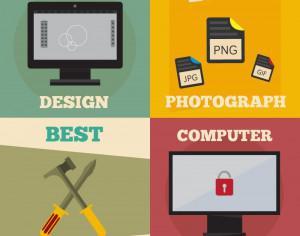 Mini poster set of design, photography, repair, computer jobs Photoshop brush