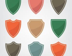Set of color shield icons Photoshop brush
