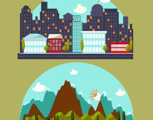 Illustration with city and mountain landscape Photoshop brush