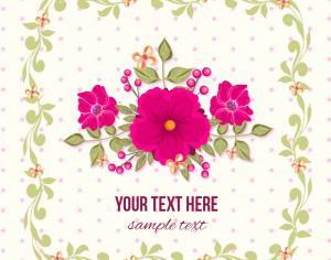 Floral illustration with frame Photoshop brush