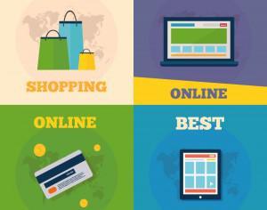 Online shopping flat concept design Photoshop brush