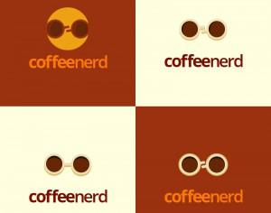 Coffee Nerd logo design Photoshop brush