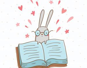 Vector illustration of cute bunny and a big book Photoshop brush