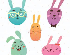 Funny bunnies faces vector set Photoshop brush