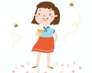 Vector illustration of cute girl witn an ice cream Photoshop brush