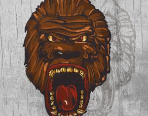 Ape head  mascot on wood texture  Photoshop brush