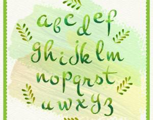 Hand drawn watercolor alphabet and leaves Photoshop brush