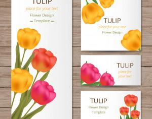 Floral cards with tulips on wood texture Photoshop brush