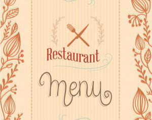 Restaurant menu with florals Photoshop brush