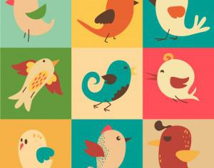 Cute vector set of birds Photoshop brush