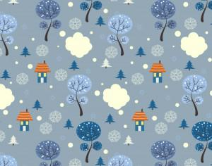 Christmas pattern with trees and houses Photoshop brush