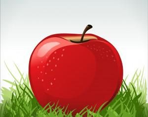Red apple in green grass Photoshop brush