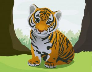 Cute tiger Photoshop brush
