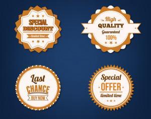 Sale badges vector set Photoshop brush