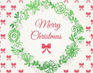 Christmas background with floral frame Photoshop brush
